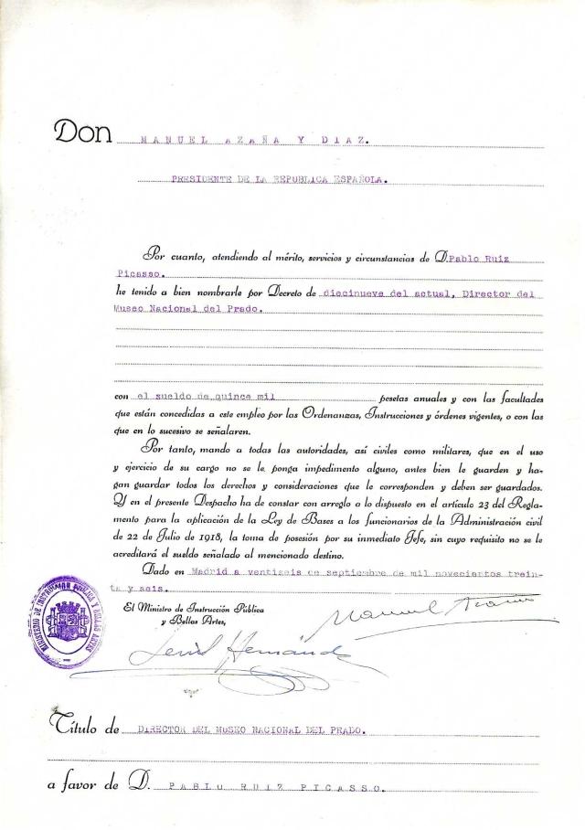Nombramiento de Pablo Ruiz Picasso como Director del Museo del Prado. Fecha 26-09-1936
