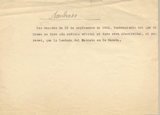 Nota por la que se da cuenta del nombramiento de Pablo Ruiz Picasso como Director del Museo del Prado. Fecha 26-09-1936